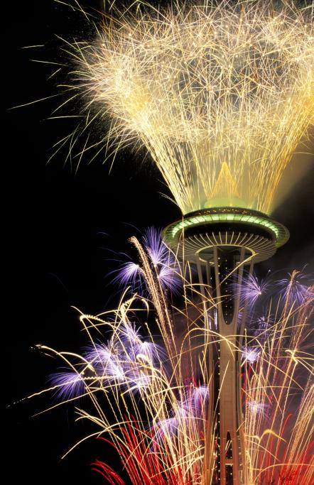 Fireworks at the Space Needle in Seattle, WA
