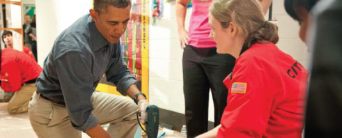 President Barack Obama demonstrates citizen engagement
